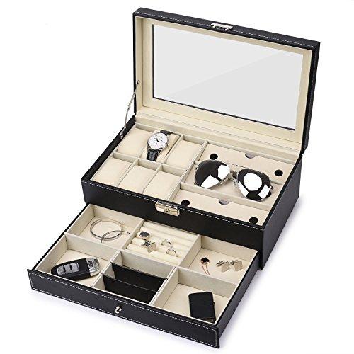 Uhren-Box mit 6 Fächern, Schmuck-Organizer, abschließbare Sonnenbrillen-Vitrine aus schwarzem Kunstleder