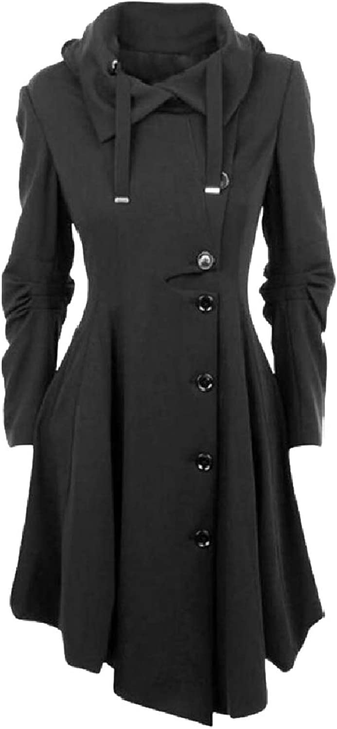 Jxfd Women's Fashion Long Personality Collar Outwear Slim Trench Coat