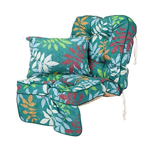 Single Classic Garden Swing Seat Cushion - Alexandra Green Leaf