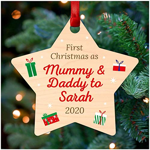 Personalised First 1st Christmas as Mummy and Daddy New Parents Christmas Tree Decorations - Printed Wood Christmas Tree Ornament Gifts for Mummy & Daddy New Parents