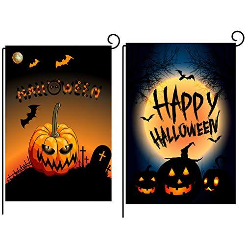 WENTS Halloween Flagge 2 Stück Halloween Banner Party MIT KÜRBIS für Piraten-Party, Halloween-Dekoration, 47 x 32 cm