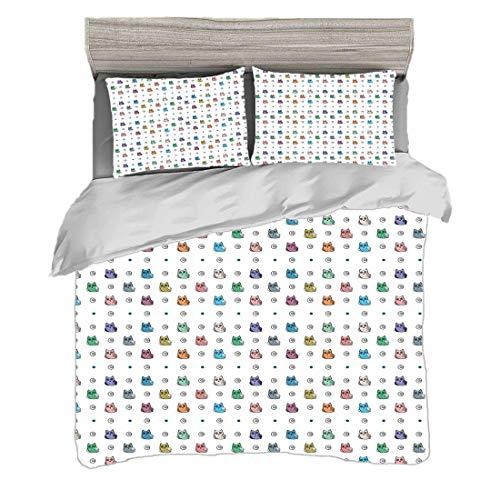 Bettwäscheset King Size (220 x 240 cm) mit 2 Kissenbezügen Eule Mikrofaser-Bettwäsche-Sets Eulenmotiv mit Spiralkreisen und großen Augen Nacht Tierkinderzimmer Babyspielzimmer Konzept,mehrfarbig,Pfleg