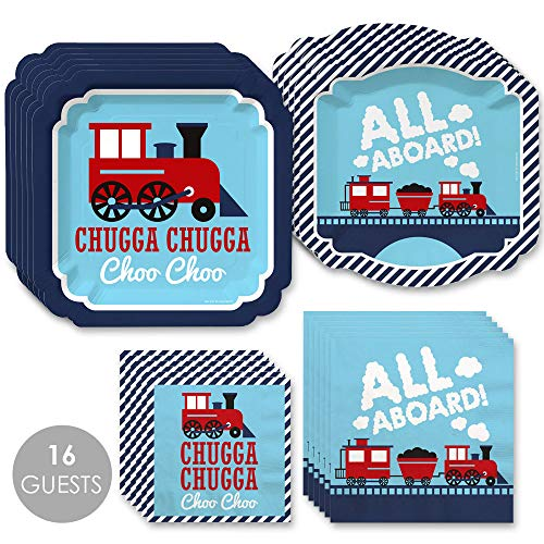 Big Dot of Happiness Railroad Party Crossing - Steam Train Birthday Party or Baby Shower Tableware Plates and Napkins - Bundle for 16