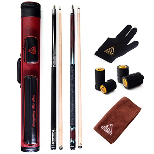 CUESOUL Set of House Bar Pool Cue Sticks Combo - 2 Cue Sticks Packed in 2x2 Hard Pool Cue Case E105