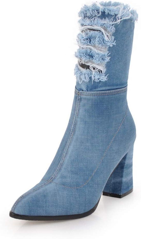 Womens Ladies Biker Boot Ankle High Heel Winter Zip Calf Knee Denim shoes Boots Cowboy Heeled Slouchy Boots Size