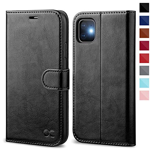 OCASE iPhone 11 Case, iPhone 11 Wallet Case with Card Holder, PU Leather Flip Case with Kickstand and Magnetic Closure, TPU Shockproof Interior Protective Cover for iPhone 11 6.1 Inch (Black)