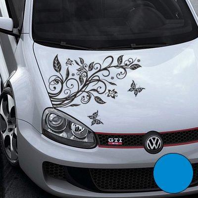 A456 Blumenranke Autoaufkleber + 3 Schmetterlinge 92cm x 60cm hellblau (Farb-/Größenwahl)