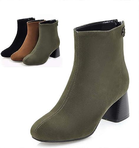 Fuxitoggo Stiefel para damen - Simple Plus Velvet Thick con tacón Alto Stiefel de Gamuza Mate Stiefel para damen   34-43 (Farbe   Grün, tamaño   36)