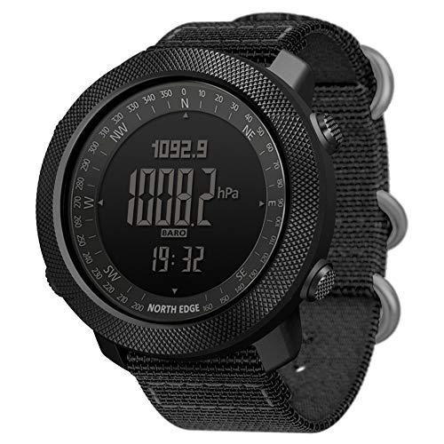 Hombre Reloj Militar Al Aire Libre Impermeable Reloj de Pulsera Deportivo con cronómetro Altímetro Medición de Altura/presión de Aire, para Senderismo Correr Montañismo (Silicone Strap)