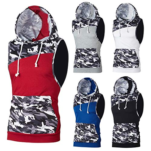 MIRRAY Men's Vest Casual Summer Camouflage Hoodie Patchwork Pockets Drawstring Slim Fit Gym Sports Running Hooded Pullover Sleeveless T Shirt Man Tops Blouse
