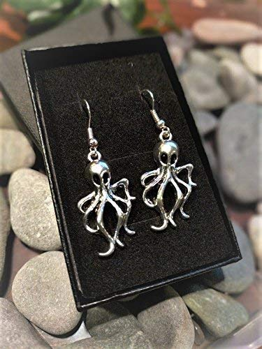 Handmade Octopus Cthulhu Mystic Goth Silver Plate Earrings (Pair) Gift Boxed