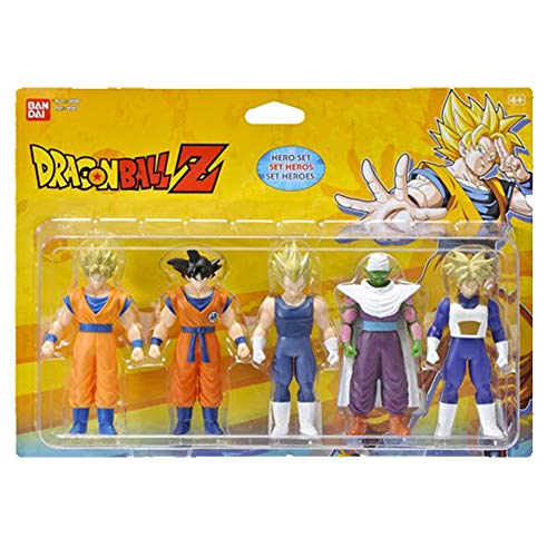 Bandai - Dragon Ball Z - Set di 5 personaggi 1° combattimento, Eroi 1, Super Saiyan Goku, Goku, Super Saiyan Vegeta, Piccolo, Super Saiyan Gohan e Super Saiyan Trunks - 34501