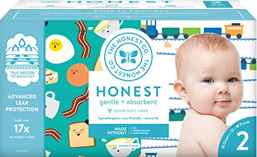 The Honest Company Club Box - Size 2 - Trains & Breakfast Print with TrueAbsorb Technology | Plant-Derived Materials | Hypoallergenic | 76 Count