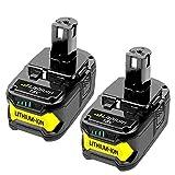 Dosctt 2 X 18V 5,5Ah Batterie de Remplacement pour Ryobi One+ P108 RB18L50 RB18L40 RB18L25 RB18L15 RB18L13 P108 P107 P122 P104 P105 P102 P103 Outils compacts sans fil