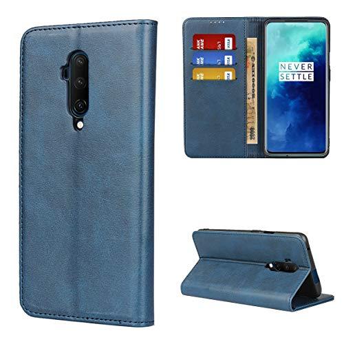 Copmob Hülle Oneplus 7T Pro,Premium Flip Leder Brieftasche Handyhülle,[3 Kartensteckplatz][Ständerfunktion][Magnetverschluss],Ledertasche Schutzhülle für Oneplus 7T Pro - Blau