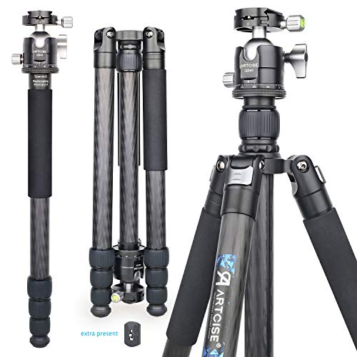 Carbon Fiber Ball Head Tripod, 73'' Monopod with Low Profile Ball Head ARTCISE AS-85C Ultra Stable Lightweight Professional Camera Travel Tripod,32mm Leg Tube, Max Load 44lbs/20kg