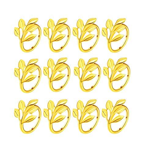 Gold Silber Serviettenringe, 6/12 Stück Metall Serviettenschnallen für Hochzeitsfeier Abendessen Jubiläum Tischdekoration(Gold,12 PCS)