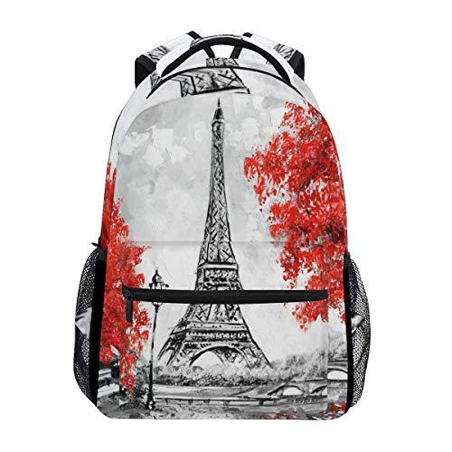 Sac à dos étanche à la peinture à l'huile Tour Eiffel Paris Feuille d'érable Sac à dos d'école Gym Ville Européenne Lands Red Lamp Bridge Laptop Sac de voyage pour enfants garçons filles femmes hommes