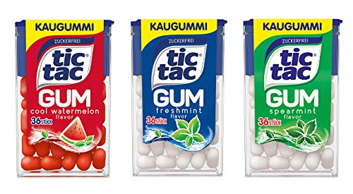 tic tac GUM Probier Set, alle drei Sorten, 3er Pack (3 x 17,5g)