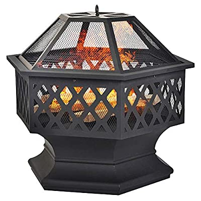 Large Fire Pit For Garden, Steel Garden Heater/Burner Fire Bowls With BBQ Grill Shelf, Outdoor Hexagonal Fireplace with Spark Guard Poker And Cover, 70cm Diameter| UK Warehouse by