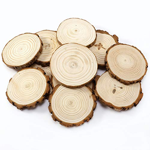 SurePromise One Stop Solution for Sourcing 20 Stück Holzscheiben 8-9cm Baumscheiben Namensschild Anhängeetiketten Hochzeit Deko Basteln DIY Verzierungen wohndekoration