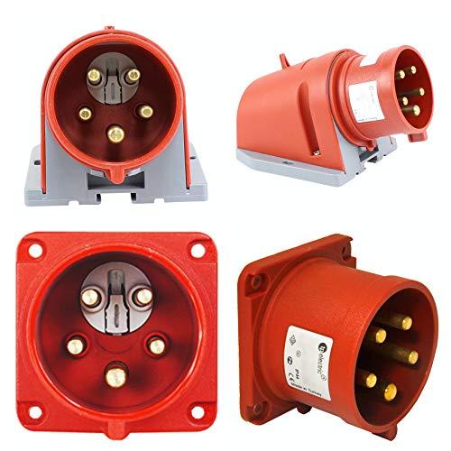 TPelectric - CEE 5x16A IP44 mit Phasenwender Wandstecker Anbaustecker 5-Pol Rot (Anbaustecker 16A 75x75mm)