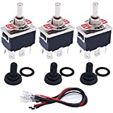 TWTADE 3 Pcs Toggle Switches 6 Pin 3 Position ON/OFF/ON DPDT Heavy Duty Rocker Toggle Switch 16A 250VAC Spade Terminal Metal Bat Switch with Waterproof Boot Cap + 6.3mm Terminal Wires TEN-1322MZX-B203