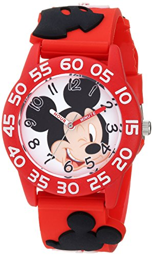 DISNEY Boys Mickey Mouse Analog-Quartz Watch with Plastic Strap, red, 15.7 (Model: WDS000509)
