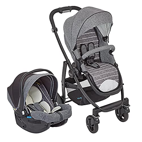 Graco Evo Travel System, 2-in1-Kinderwagen-Set mit Sportwagen Graco Evo und Babyschale Graco SnugEssentials i-Size, ab Geburt, 0-15 kg, Suits Me, grau