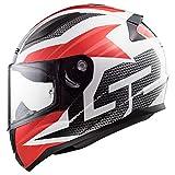 LS2 Helmets Rapid Grid Red Graphic Unisex-Adult Full-Face-Helmet-Style Motorcycle Helmet (White, X-Large)