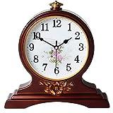 WSXEDC Clásica de madera del reloj de cuarzo-silencioso y sin molestias de madera Reloj-sala de estar decoración de la tabla reloj de habitaciones-vivo Dormitorio Cocina oficina reloj cubierta Reloj d