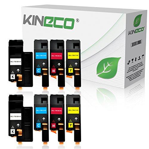 8 Toner kompatibel mit Dell C1760nw, 1250c, C1765nfw, C1700 Series, 1350cnw, 1355cnw - Schwarz je 2.000 Seiten, Color je 1.400 Seiten