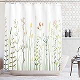 N \ A Frühlingsduschvorhang, blühende Wildblumen, Grasland-Illustration, botanisches Blumenfeld, Stoff, Badezimmer-Dekor-Set mit Haken, 60 x 72, grün-gelb