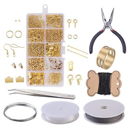 Kit de suministros de fabricación de joyas para principiantes, kit de herramientas para pendientes de alicates de joyería, cuentas de alambre / cuentas de oro