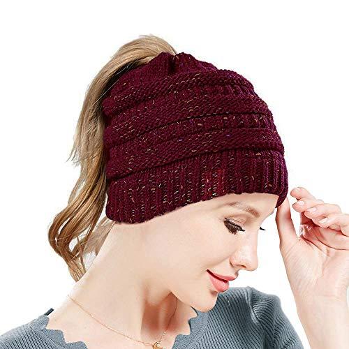 SWEDREAM Wintermütze Beanie Mütze Winter Strickmütze Schirmmütze Hüte Mützen Caps für Damen Gestrickte Baseballmütze Pferdeschwanz Mütze mit Zöpfen Loch (Weinrot)