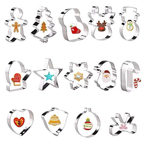 Faburo 14 Stück Plätzchen Ausstechformen Weihnachten Plätzchenformen Set Druckform Edelstahl Backform Verschiedene Formen zum Backen von Kekse Kuchen (Ausstechformen für Weihnachten)