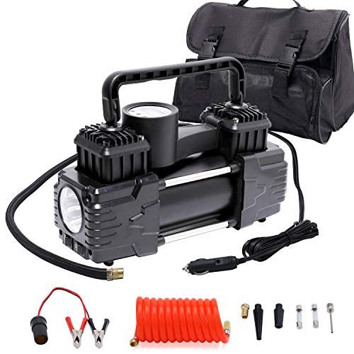 Visotech Portable Double Cylinder Car Tire Pump 150 Psi with LED Lights , 85L / Min Air Flow Inflator with Extended 11.5ft Air Hose,13.2ft Power Cord, for Car, Truck, SUV Tires