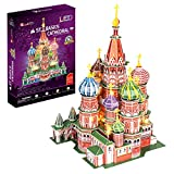 Puzzle 3D San Basilio LED, Puzzles 3D Adultos, Maquetas para Montar Adultos, Rompecabezas Niños, Puzzles 3D, Puzles 3D Adulto, Juegos De Montar, 224 Piezas, 240 Min