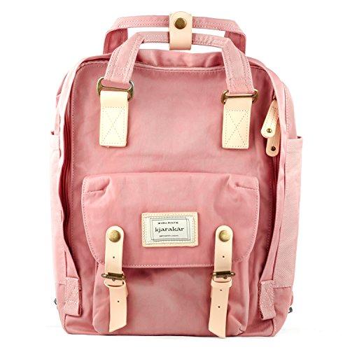 Kjarakar (Pink) Vintage School Laptop Travel Commuter Backpack