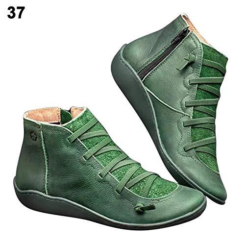 Jianghui133 Damen Ankle Boots Mit Schnürung Seitlicher Reißverschluss,Kunstleder Stiefeletten...