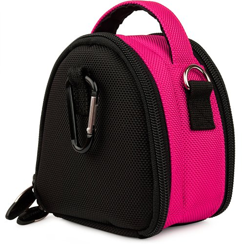 Hot Pink Limited Edition Camera Bag Carrying Case with Extra Accessory Compartment for Canon Power Shot Point and Shoot Compact Digital Camera