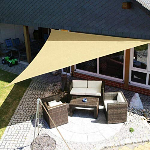 MKIU Toldo De Vela para Jardín, Toldo De Vela Triangular De Poliéster, Toldo De Protección Solar Ultra Resistenteanti-UV Toldo Impermeable para Exteriores con Kit De Fijación,2x2x2m