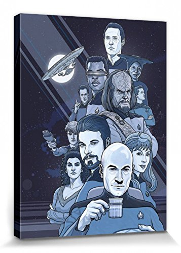 1art1 Star Trek - Next Generation Blue 50 Jahre Bilder Leinwand-Bild Auf Keilrahmen | XXL-Wandbild Poster Kunstdruck Als Leinwandbild 80 x 60 cm