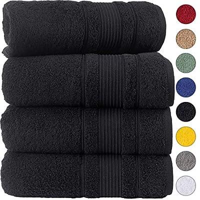 Qute Home 100% Turkish Cotton Bath Towels (27 x 52 inches) 4 Pieces Towel Set