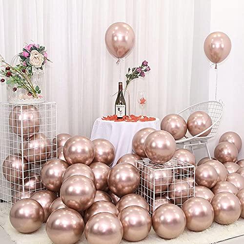 Palloncini Metallici, 100 Pezzi Palloncini in Lattice Lucido Palloncini Decorazioni Festa Compleanno, Matrimonio, Baby Shower, Anniversario di Festival Decorazioni per Feste di Natale Rose Gold