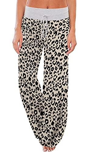 Pantalón De Pijama Lounge para Mujer con Cordón De Pierna Ancha(Leopardo,X-Large)
