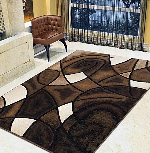 HR-Chocolate Brown/ Beige/ Mocha/ Black/ Abstract Area Rug Modern Contemporary Circles and Wavey Swirlls Design Pattern (5' x 7')