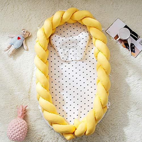 SHL Baumwolle Woven Folding Bett der beweglichen Krippe Bionic herausnehmbares und waschbares Handbuch Zaun Dreidimensionales Schutz Krippe (weiß hellgrau pink) XY (Farbe : Yellow)