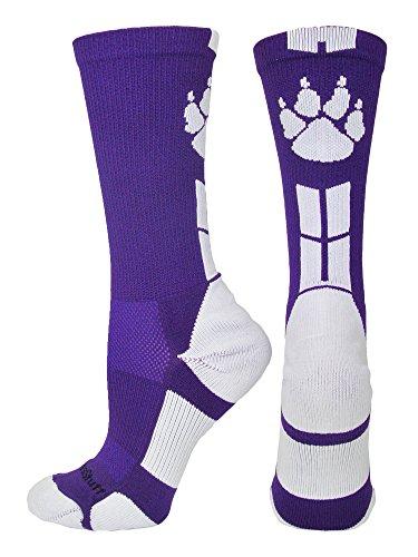 MadSportsStuff Wild Paws Crew Socks (Purple/White, Large)