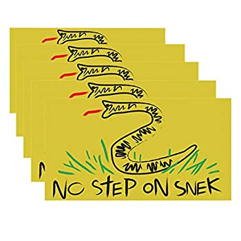 OFEFAN⭐【US STOCK】No Step On Snek Sticker Decal Gadsden Flag America Don t Tread On Me Patriot - Decals Best for Phone Laptops and Cars Window Bumper Premium Quality Vinyl UV Protective Laminate 5PCS
